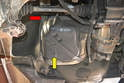 If your fuel pump and filter has a cover over it (yellow arrow), you will need to use a 13mm socket and remove the single bolt that holds the hanger in place (red arrow).