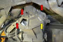There are four places the torque bell housing is attached to the transaxle; three use a 10mm Allen (red arrows) and one is a 17mm bolt (yellow arrow).