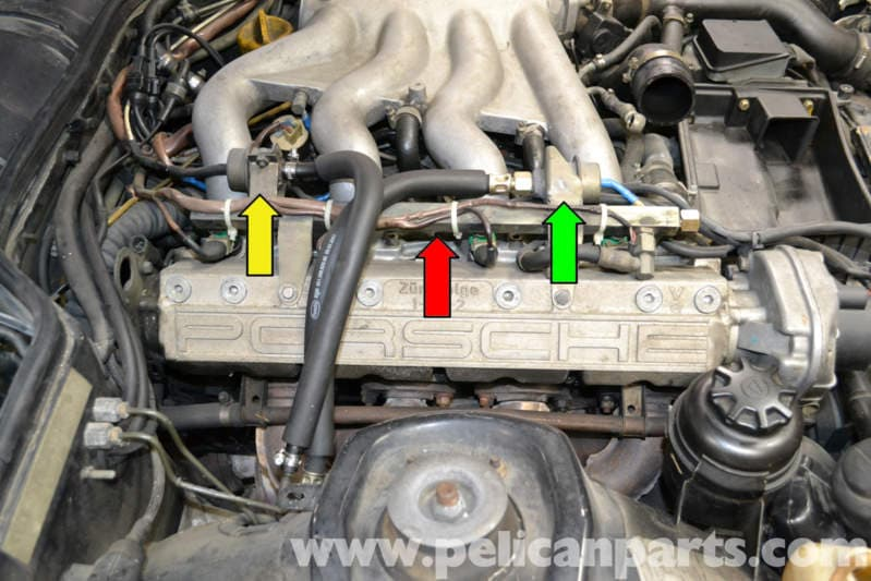 porsche 944 turbo fuel injector replacement (1986 1991) pelican porsche 944 parts the fuel rail and injectors (red arrow) sits on top of the engine between