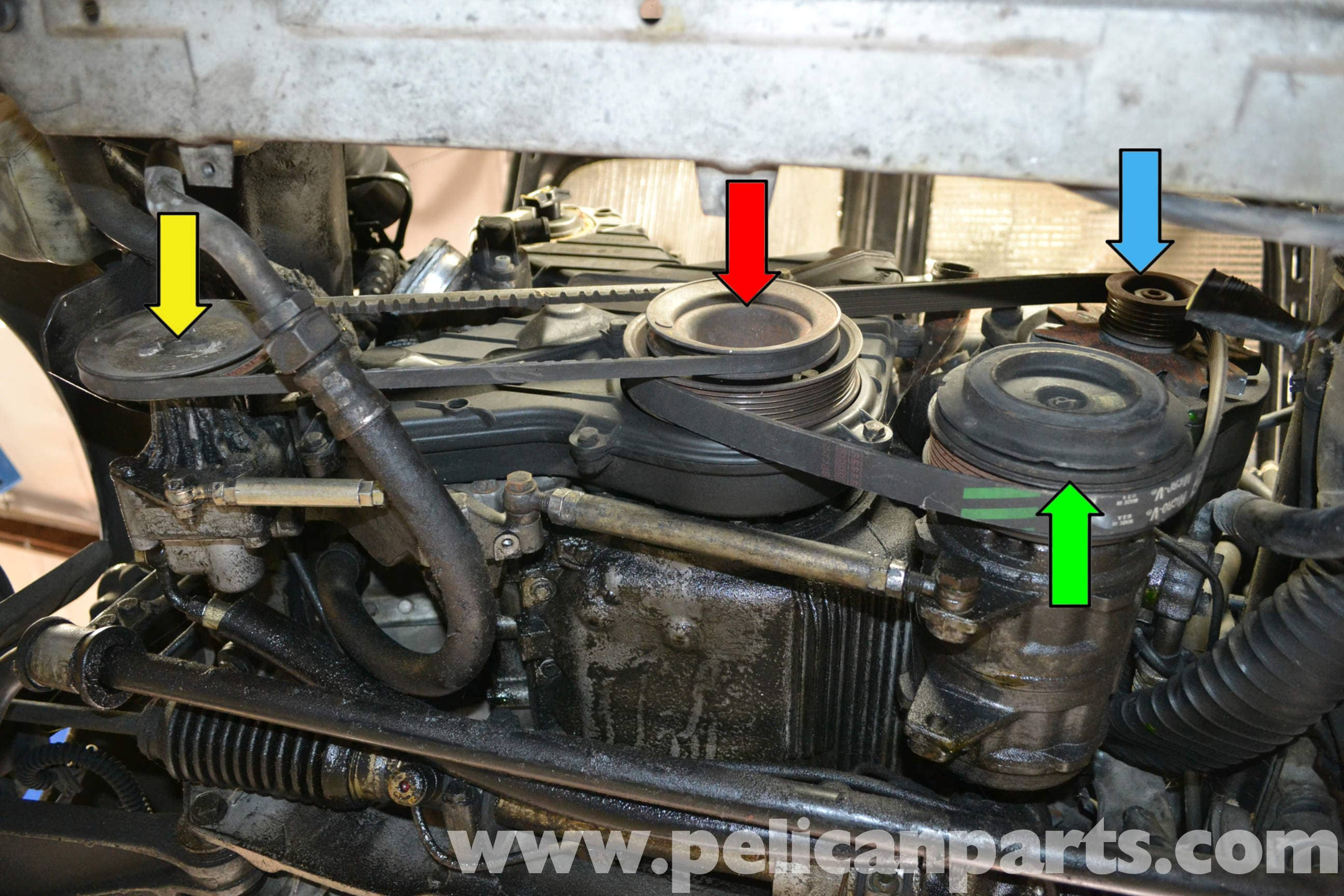 Porsche 944 Turbo Accessory Belts Replacement 1986 1991 Pelican Diagram Of 1987 911 Engine Large Image