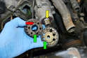 When reinstalling the balance shaft pulleys, insert the cut out on the pulley with the O (red arrow) on the keyway (yellow arrow).