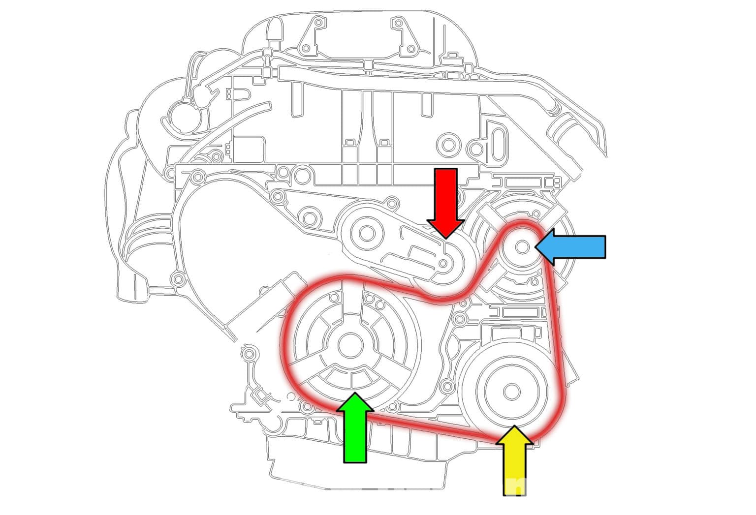 Saab       9      3    Drive Belt Replacement  2006   2007       Pelican Parts DIY Maintenance Article