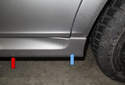 Jacking rear of vehicle: When jacking the rear of your vehicle, you will have to jack one side at a time, using the rear suspension to body connecting point as the jacking point.