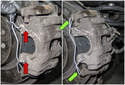 Install the brake pad anti-rattle clip by pressing it into the caliper and pushing it down to confirm it is properly seated.