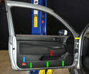 There are three main components that need to be removed to remove the door panel.