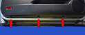 There are three T27 Torx screws (red arrows) along the lower door panel.