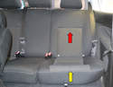 The rear seats come out in two sections: the lower (yellow arrow) and the upper (red arrow).