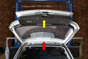 There are two pieces that make up the rear inner panels: the upper section (red arrow) and the lower section (yellow arrow).