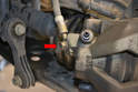 The flexible line going into the caliper uses an 11mm banjo bolt (red arrow) to attach the line to the caliper.