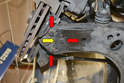 Next mark with a scribe the area around the ball joint (yellow arrow) if you mark this you should be able to get the alignment close enough during reassembly that you do not damage the tires when driving the car to the alignment shop.
