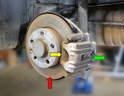 This photo illustrates the rear brake system.