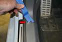 B Pillar: The upper B pillar trim section is a single piece (red arrow).
