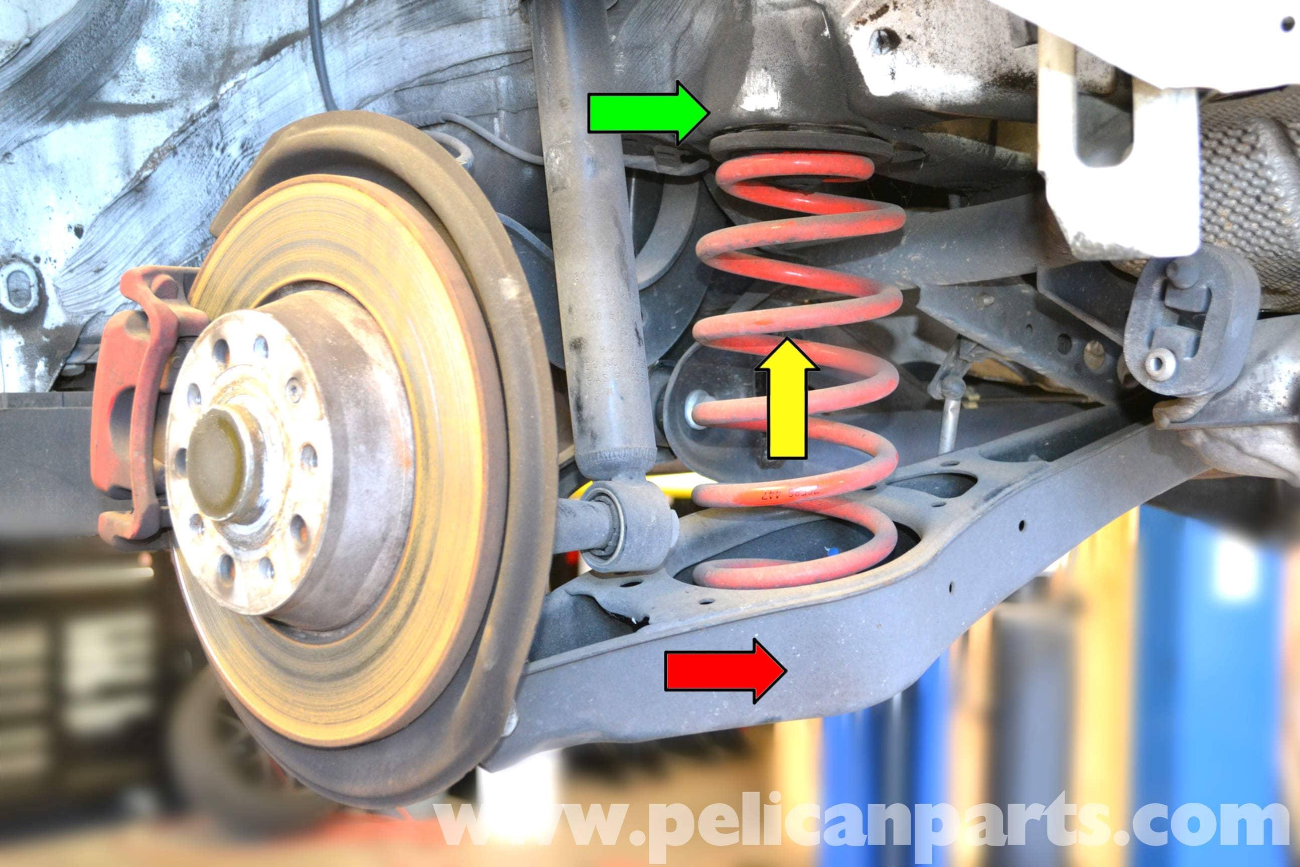 volkswagen golf gti mk  rear spring replacement   pelican parts diy maintenance article