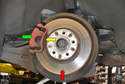 This photo illustrates the rear brake system.