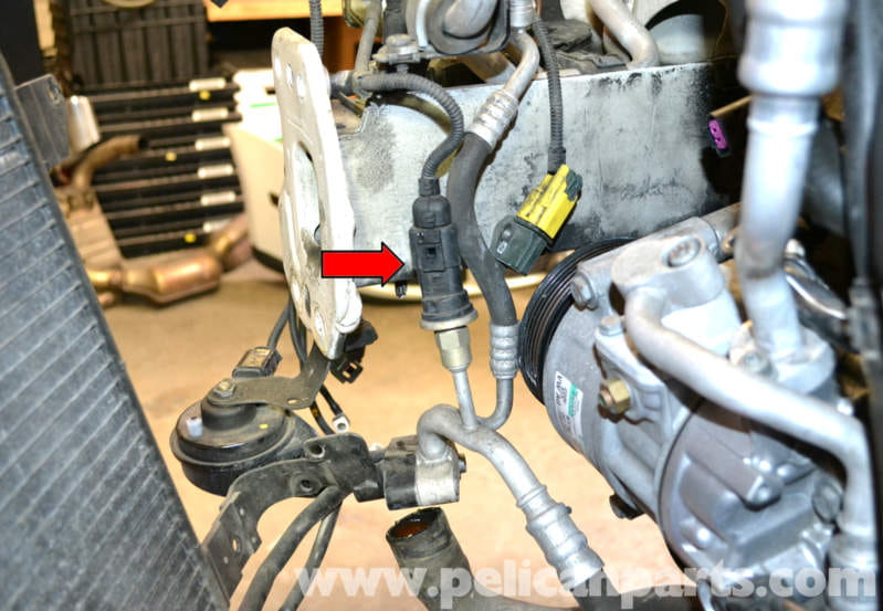 Volkswagen golf gti mk v ac condenser and compressor replacement condenser disconnect the pressure sensor harness from the sensor red arrow cheapraybanclubmaster Choice Image