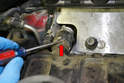 On the crimp clamp you will probably have to pry up the clamp with a small screwdriver (red arrow).