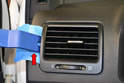 Side Vents - To remove the side vents, begin by protecting the dash with a piece of cloth or tape and then use your trim removal tool and gently pry the vent forward (red arrow).