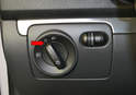 Headlight Switch - Begin with the switch in the off position (red arrow).