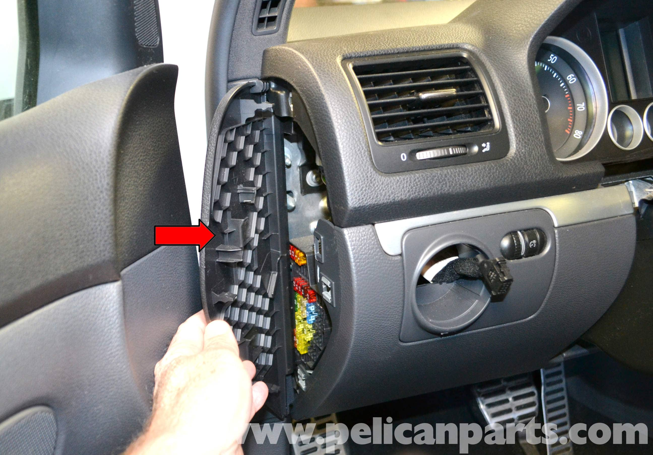 volkswagen golf gti mk v lower dash removal  2006