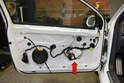 Window Motor - This photo illustrates the door with the door panel off.