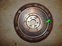 This picture shows the flywheel removed from the engine.