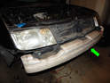 Once the front bumper cover is removed, pull the Styrofoam (green arrow) off the front bumper.