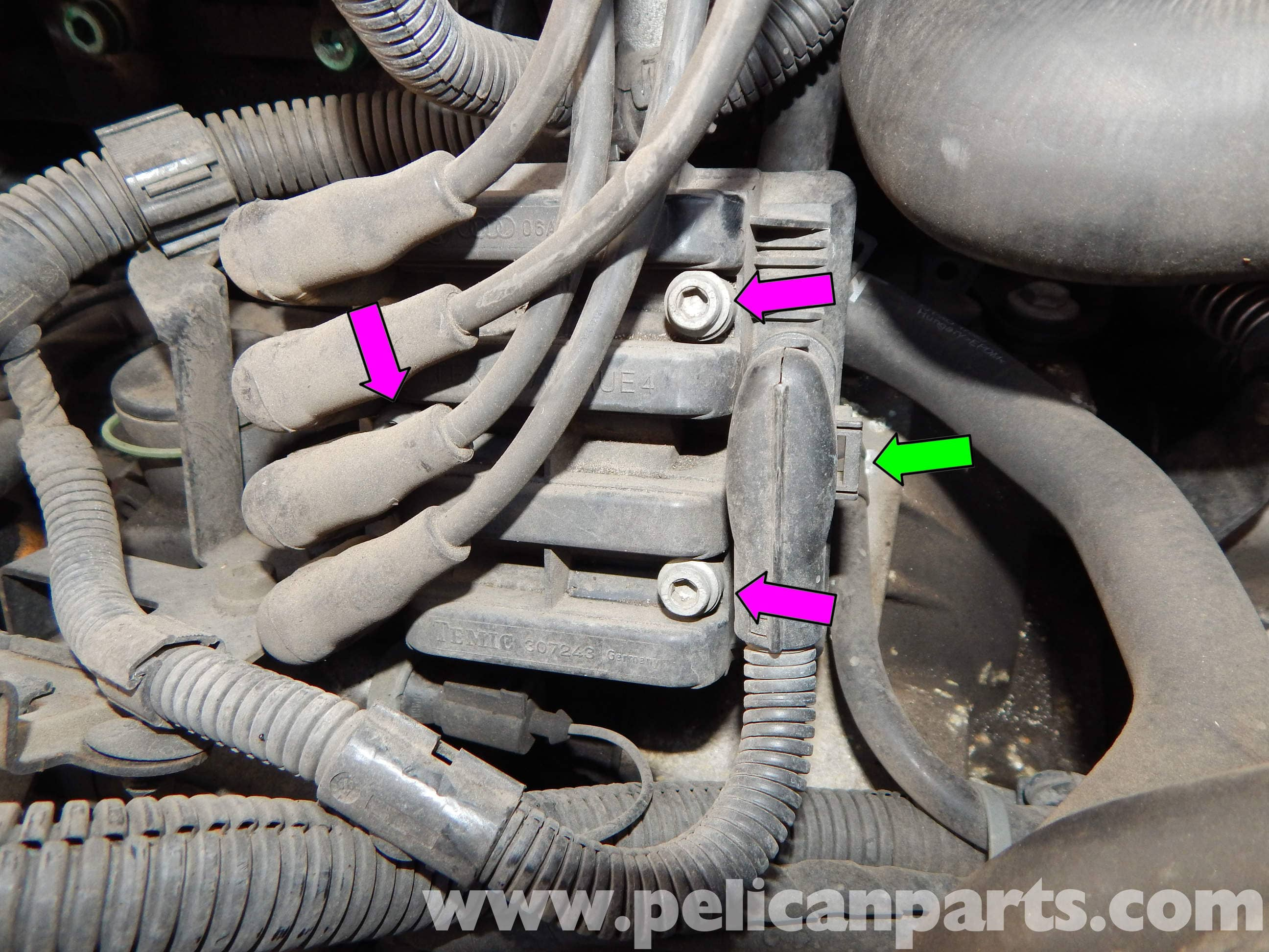 pic02 volkswagen jetta mk4 coil pack and spark plug wire replacement vw beetle spark plug wire diagram at virtualis.co