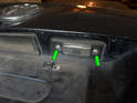 Left and Right Bulb Holders - Loosen and remove the two Phillips head screws (green arrows) securing the bulb holder to the trunk lid.