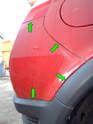 Left and Right sides of car: You'll need to use a plastic trim removal tool in between the seams of the cover and the body (green arrows) to pop the cover loose.