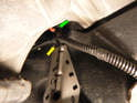 Clutch Master Cylinder: Shown here is the upper, outer 13mm nut (green arrow).
