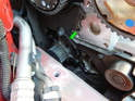 Shown here is the location of the water pump on your Volvo C30 (green arrow).