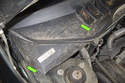 Start by removing two T25 Torx wiper cowl fasteners (green arrows).
