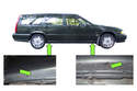 Volvo V70 models have four lifting points at the body pinch welds, slightly behind front wheels and slightly in front of rear wheels (green arrows).
