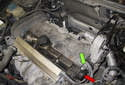 On V70 base models, the camshaft position sensor is located at the left front corner of the cylinder head.