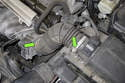 Then, loosen the intake air duct clamps (green arrows).