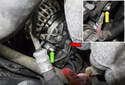 Working at the back of the alternator, remove the electrical connector (green arrow) by pulling it straight out of the alternator.