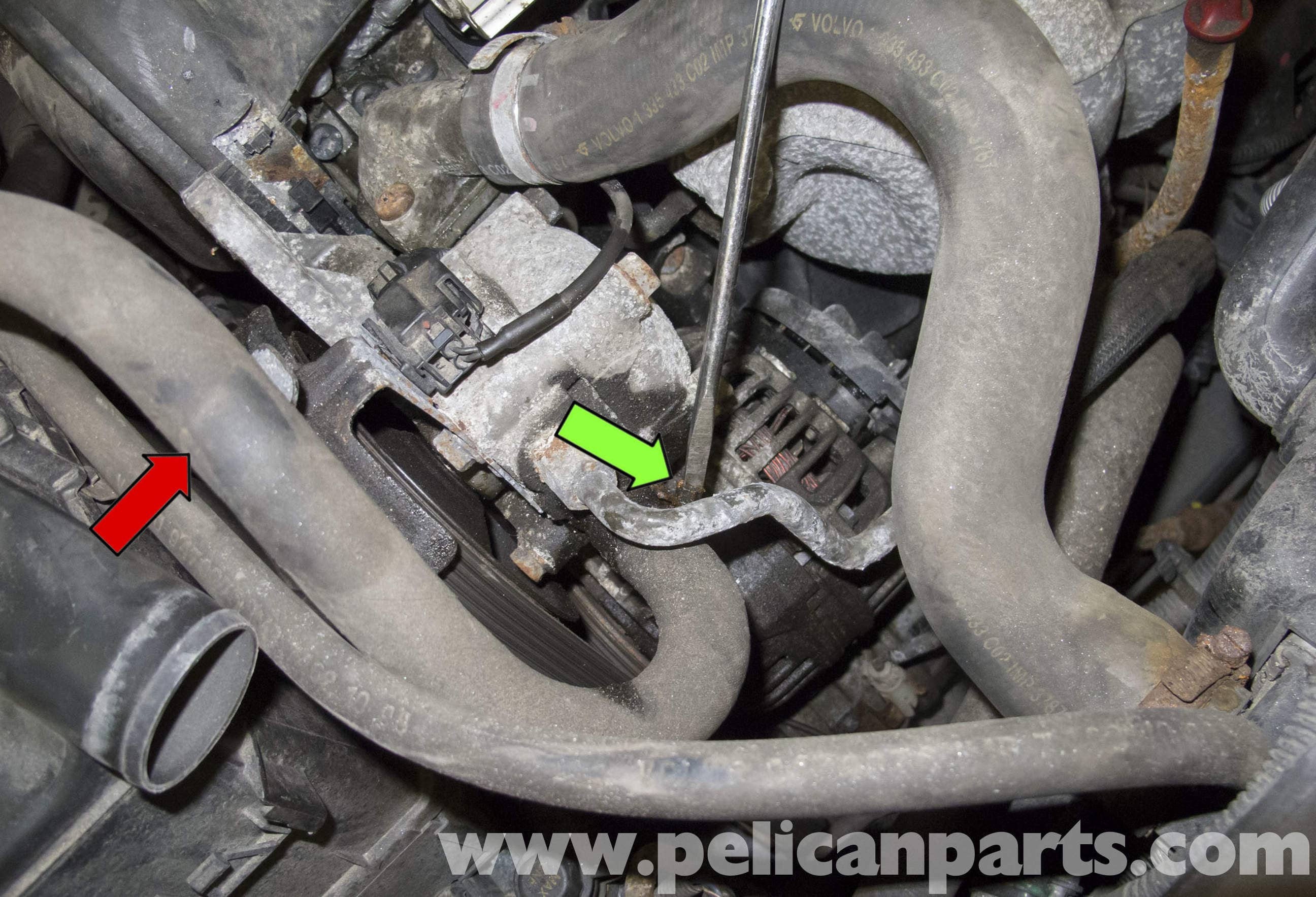 volvo  power steering pump replacement   pelican parts diy maintenance article