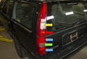 The taillights on Volvo V70 models are comprised of two separate plastic lenses.