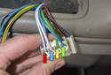 Switch testing: This photo shows the front connector (front power window controls).