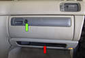 The glove box has to be removed to access electrical components behind it, such as the blower motor and blower motor resistor.
