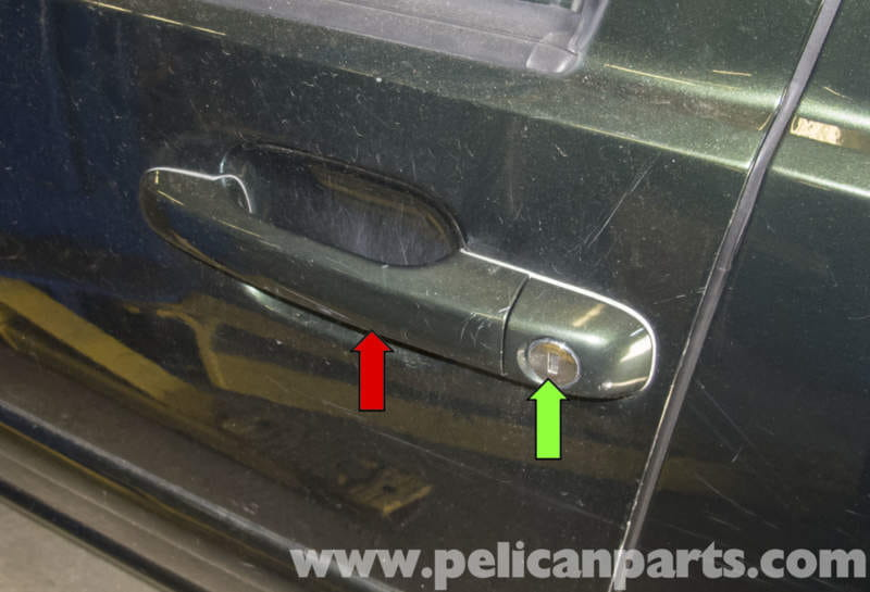 The door handle (red arrow) and lock cylinder (green arrow) are replaced & Volvo V70 Door Handle Replacement (1998-2007) - Pelican Parts DIY ... Pezcame.Com