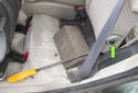 Rear Seat: Once detached, the mounting wedge will move up and away from the body (green arrow).