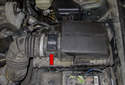 Engine airflow: The engine control module (ECM) detects the amount of engine intake air via a signal from the hot wire mass airflow (red arrow) (MAF) sensor located between the air filter housing and the intake manifold in the intake air stream.